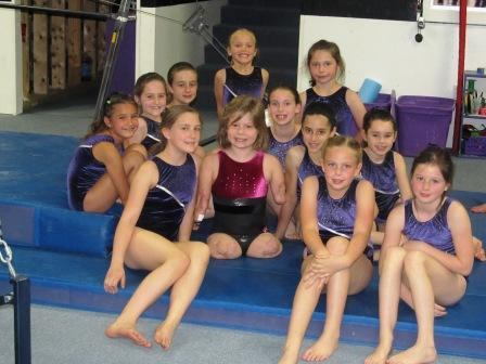 Bella Tucker with friends at Phanton Gymnastics